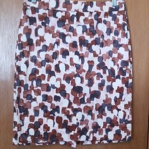 J Crew Brown, Charcoal and Pink Pencil Skirt sz 2